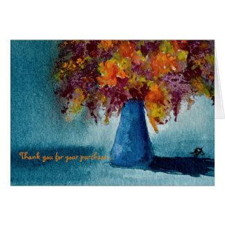 Notecard mit bunter BlumenAquarell-Malerei Karte
