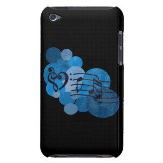 Notes de musique de clefs de coeur + pois bleu étui iPod touch