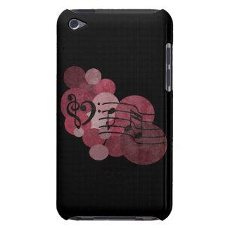 Notes de musique et mauve rouge de pois/vin iPod Étui Barely There iPod