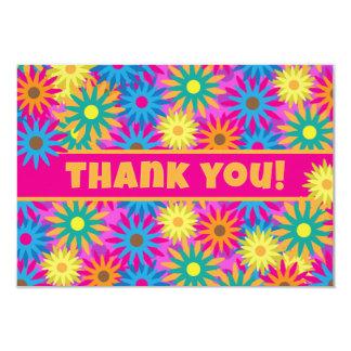 Notes hippies heureuses de Merci de flower power Carton D'invitation 8,89 Cm X 12,70 Cm
