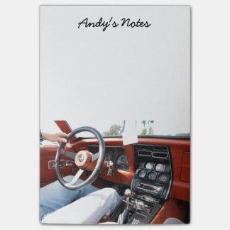 Notizblock mit Korvette-Auto-Innenraum 1981