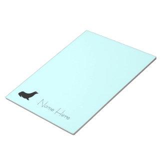 Notizblock - Siegel mit Namen auf Blau