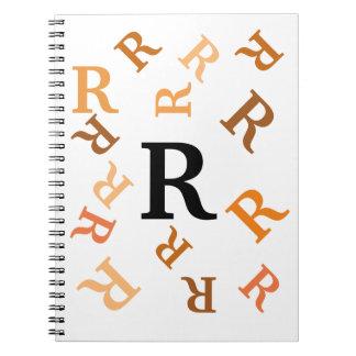 Notizbuch - gestolperte orange Buchstaben