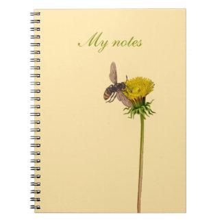 Notizbuch mit Blumenentwurf - Löwenzahn und Biene Notizblock