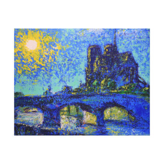 Notre Dame de Paris Sunset, painted by Den Kuvaiev Leinwanddruck
