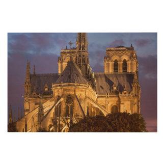 Notre Dame-Kathedrale nachts Holzleinwand