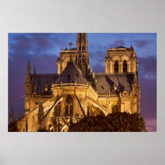 Notre Dame-Kathedrale nachts Poster