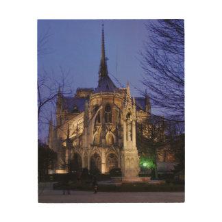Notre Dame nachts Holzleinwand