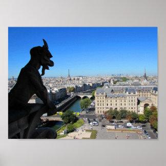 Notre Dame-Wasserspeier und Ansicht von Paris Poster