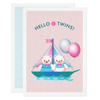 Nounours invitation jumelle de baby shower de
