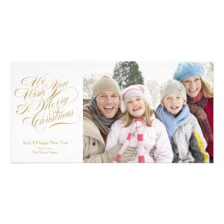 Nous vous souhaitons un manuscrit d'or du Joyeux Cartes De Vœux Avec Photo