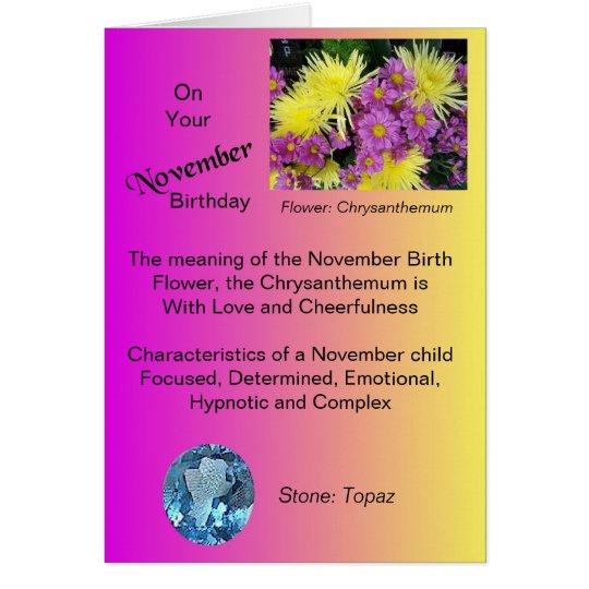 November-Geburtstags-Karte - Chrysantheme und Grußkarte