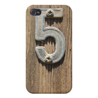 Nr. 5 auf Holz iPhone 4/4S Hülle