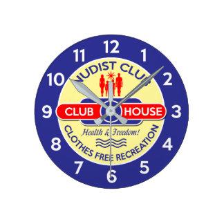 Nudist-Verein-Haus-Uhr Runde Wanduhr
