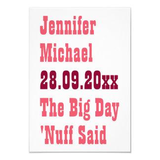 Nuff sagte lustige Save the Date Mitteilungs-Karte 8,9 X 12,7 Cm Einladungskarte