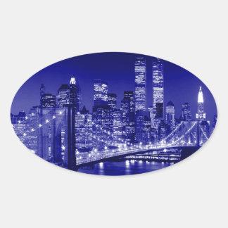 Nuit bleue de New York City Autocollants Ovales