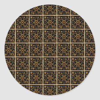 Nukleares goldenes atomargold des runder aufkleber