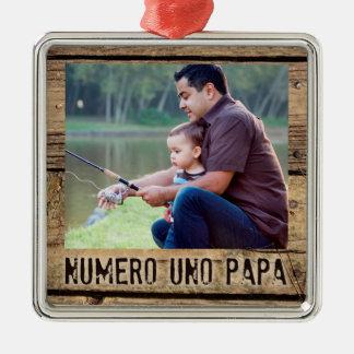 Numero UNO-Papa, rustikales Holz-Gerahmtes Foto Silbernes Ornament
