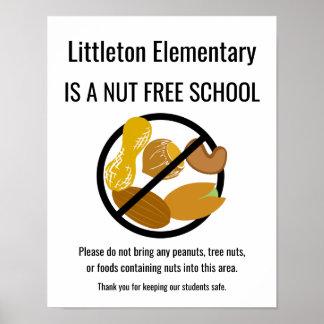 Nuss-freie Schulzeichen personalisiert mit Poster