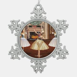 Nussknacker-Ballerina-Zinn-Schneeflocke-Verzierung Schneeflocken Zinn-Ornament