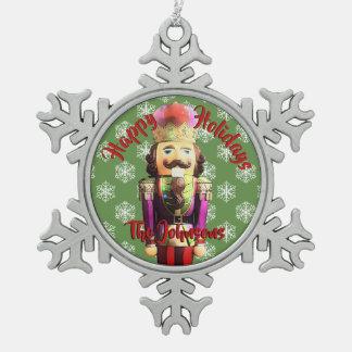 Nussknacker-personalisiertes Weihnachten Schneeflocken Zinn-Ornament