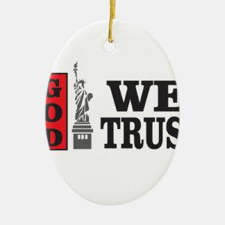 NY Gott, den wir vertrauen Ovales Keramik Ornament