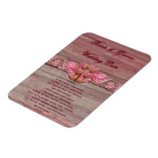 NY rosa rustikale Lilien-Hochzeit Rechteckige Magnete