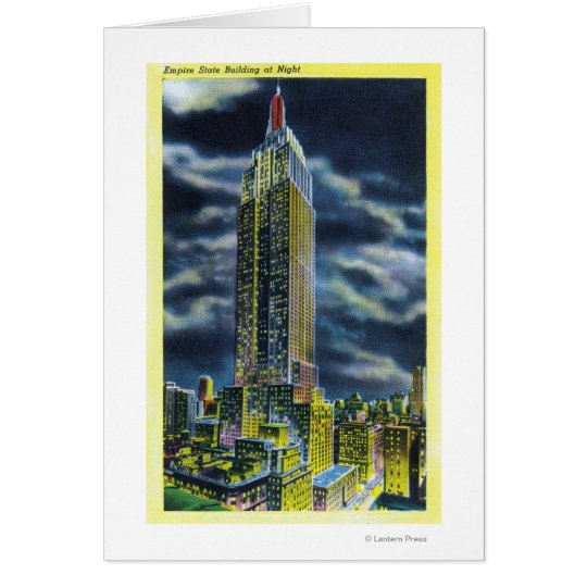 NYC, neues YorkEmpire Staats-Gebäude nachts Grußkarte
