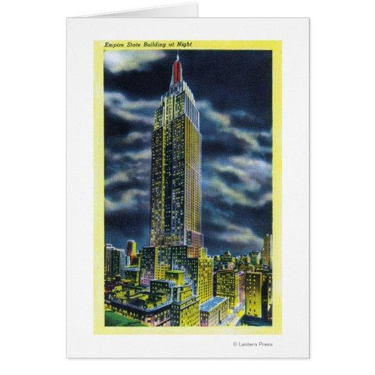 NYC, neues YorkEmpire Staats-Gebäude nachts Karte