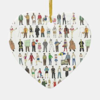 NYC New York City Leute-Herz-Weihnachtsverzierung Keramik Ornament