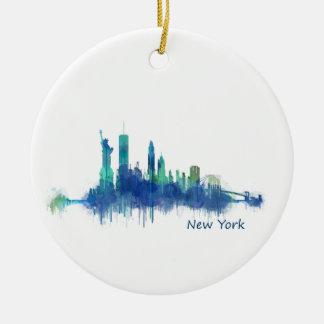 NYC New York Skyline v5 Rundes Keramik Ornament