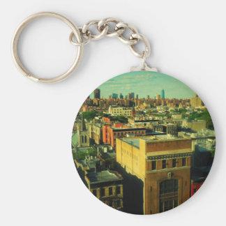 NYC retro geändertes keychain Foto Art Skyline Standard Runder Schlüsselanhänger