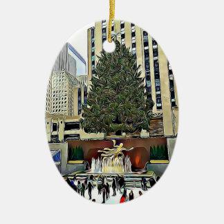 NYC Rockefeller Baum-Skaten-Eisbahnen-Weihnachten Keramik Ornament