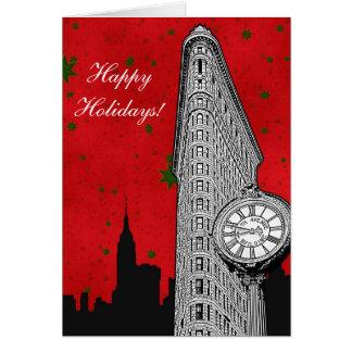 NYC Skyline ätzten Flatiron 2 Weihnachtsfeiertag Karte