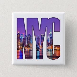 NYC Skyline (dunkel) Quadratischer Button 5,1 Cm