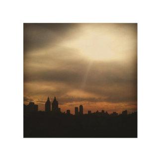 """NYC Skyline, """"ließ den Sun"""" in der hölzernen Kunst Holzdruck"""