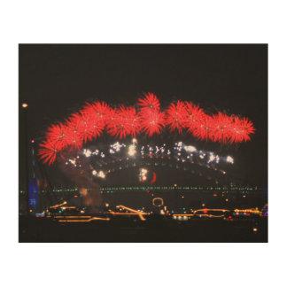 NYE Feuerwerke über Hafen-Brücke Holzdruck