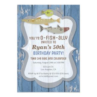 O-FISH-ALLY Fischen-Geburtstags-Party Einladung
