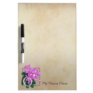 O für Orchideen-Blumen-Alphabet-Monogramm Memoboard