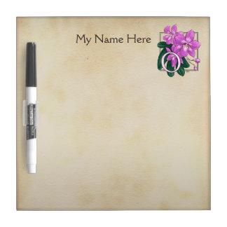 O für Orchideen-Blumen-Alphabet-Monogramm Trockenlöschtafel