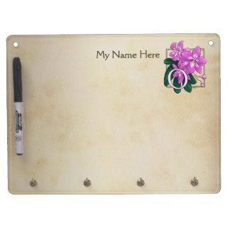 O für Orchideen-Blumen-Alphabet-Monogramm Trockenlöschtafel Mit Schlüsselanhängern