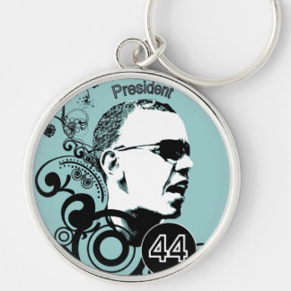 Obama-Änderungs-Hintergrund-Farbe Silberfarbener Runder Schlüsselanhänger