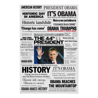 Obama: Der 44. Präsident Headline Collage Poster