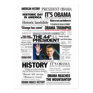 Obama: Der 44. Präsident Headline Collage Postkarte