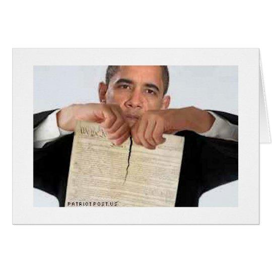Obama, der oben die Konstitution zerreißt Grußkarte