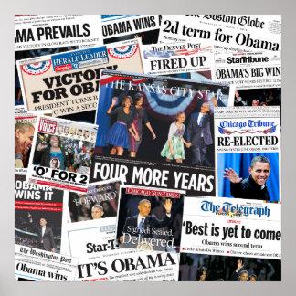 Obama gewinnt Front Page-Zeitungs-Collage 2012 Poster