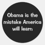 Obama ist der Fehler Amerika lernt Runder Aufkleber