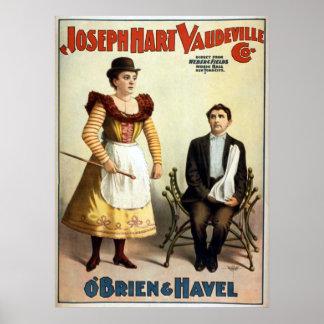 """""""O'Brien und Havel"""" Vintager Vaudeville Poster"""