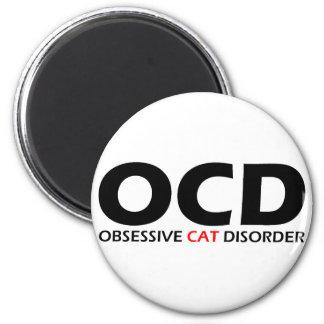 OCD - Besessene Katzen-Störung Runder Magnet 5,7 Cm