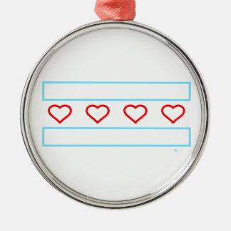 Offene Herzflagge der Herzen und der Streifen für Rundes Silberfarbenes Ornament